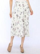 P100花柄プリントウェストゴム使いプリーツスカート