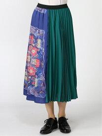 【SALE/60%OFF】SUPER HAKKA ヴィンテージスカーフプリントミックスプリーツスカート(マップ柄)(オリエンタル柄) ハッカ スカート プリーツスカート/ギャザースカート グリーン ネイビー【送料無料】