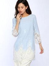 C/麻パネル刺繍布帛裾スカラップ7分袖チュニック