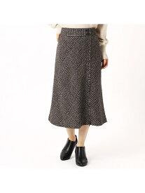 COMME CA ISM ウールライクチェック柄スカート コムサイズム スカート フレアスカート ブラウン グレー【送料無料】