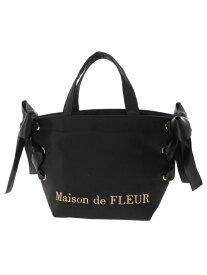 Maison de FLEUR サイドリボントートバッグ メゾン ド フルール バッグ トートバッグ ブラック ネイビー ピンク ブルー【送料無料】