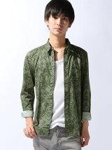 ストレッチブロードシャツ/リーフプリント  ¥9,612  税込