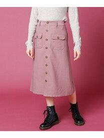 【SALE/46%OFF】Ray Cassin マイクロコール前釦スカート レイカズン スカート 台形スカート/コクーンスカート パープル オレンジ ブラウン