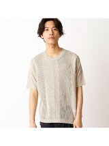 編み地のパッチワークと伝統の菱刺しを刺繍したニット