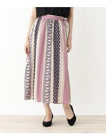 【SALE/35%OFF】grove プリーツラップ南仏風プリントスカート グローブ スカート ロングスカート ブラック ブルー