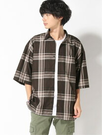 WEGO WEGO/(M)TRチェックBIGシャツ(5) ウィゴー シャツ/ブラウス 半袖シャツ ブラウン ホワイト