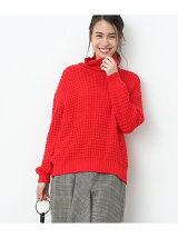 ワッフル編みバックスリットプルオーバー
