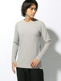 【SALE/50%OFF】291295=HOMME 291295=HOMME/ワッフル 長袖Tシャツ パッゾワークス カットソー Tシャツ グレー ブラック ホワイト