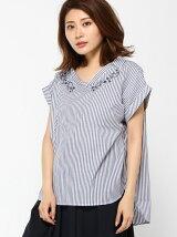浅V刺繍プルオーバーシャツ