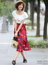 レトロ花柄ラップスカート