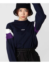 WEGO (L)別注prince切替モックネックPO ウィゴー カットソー Tシャツ ネイビー パープル ホワイト