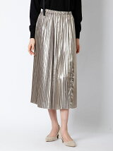 【春の新作】メタリックプリーツロングスカート