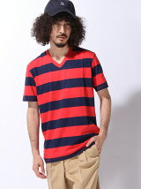 (M)ボーダー柄半袖VネックTシャツ・カットソーU2U