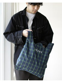 BEAMS MEN BEAMS / チェック ショップ バッグ ビームス ショッパー ユニセックス エコバッグ マルシェバッグ コンパクト プレゼント ギフト 携帯 ナイロン 買い物 ロゴバッグ トラッド プレッピー カジュアル ビームス メン バッグ エコバッグ/