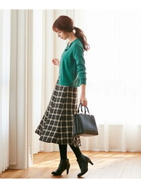 【SALE/30%OFF】any SiS L 【洗える】フレアチェック/ツイード スカート エニィスィス スカート スカートその他 ブラウン ネイビー【送料無料】