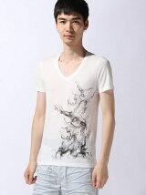 半袖VネックプリントTシャツ