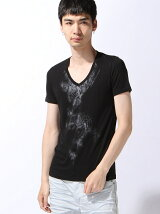 半袖VネックプリントTシャツ(2)