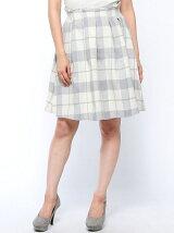 シャギーチェック単色カラーフレアスカート