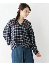 チェック刺繍スキッパーシャツ