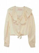 satin frillcollar blouse
