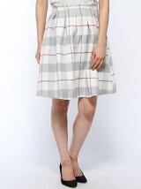 シャギーチェックカラーフレアスカート