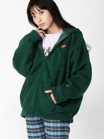 X-girl XG CHAMPION RV ZIP HOODIE エックスガール コート/ジャケット ショートコート グリーン パープル【送料無料】