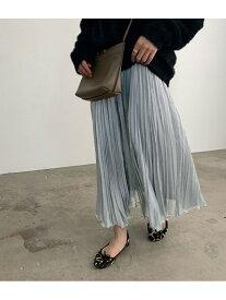 ROPE' mademoiselle シャンブレージョーゼットプリーツスカート ロペ スカート スカートその他 グレー ベージュ カーキ【送料無料】
