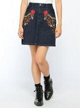 【BROWNY STANDARD】(L)刺繍デニムAラインミニスカート
