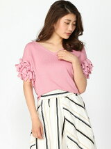 MIXリボンSLV KNIT TOP