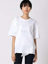 KENZO (W)Woven Ruffle Tiger Skate Tee ケンゾー カットソー Tシャツ ホワイト【送料無料】
