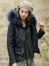 Fur付 フードレザーJK