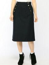 Techichi/ウールサイド釦スカート