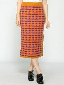 【SALE/50%OFF】CASHYAGE CASHYAGE/(W)カシミヤジャガードスカート カシヤージュ スカート タイトスカート オレンジ ベージュ【送料無料】