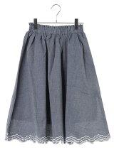 裾スカラップ刺繍ギャザースカート