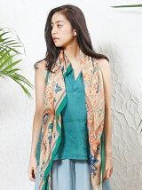 India シャドウステッチ ハンド刺繍トップ × ストール SET