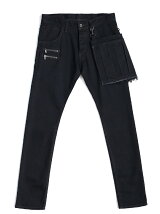 DENIM PLEATS APRON SKINNY PANTS O/W