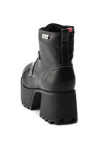 (L)厚底レースアップブーツ BL/コンビ