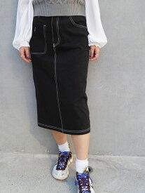 【SALE/30%OFF】179/WG バックレースアップミディ丈スカート イチナナキューダブリュジー スカート タイトスカート ブラック グレー ホワイト