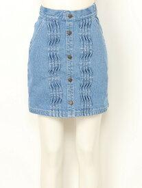 【SALE/70%OFF】titty&Co. ピンタックデニムスカート ティティー アンド コー スカート デニムスカート ブルー