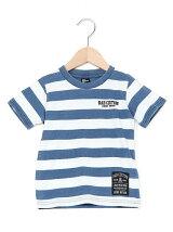 インディゴボーダーロゴプリントTシャツ