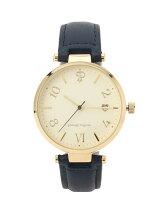 ミディフェイス日付つき腕時計