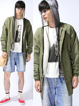 No collar Mods Parka Shirt