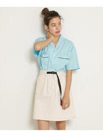 【SALE/35%OFF】DOUBLE NAME クライミング台形スカート レイカズン スカート ミニスカート ブラック グリーン ベージュ ホワイト