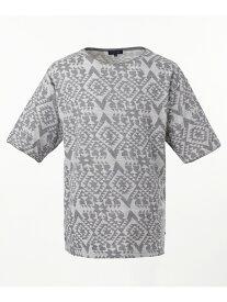 【SALE/50%OFF】SHARE PARK 【洗える】ジャガード半袖 カットソー シェアパーク カットソー Tシャツ グレー ホワイト ブラウン ネイビー