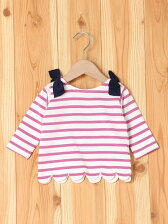 肩リボン裾スカラップボーダーTシャツ/キッズ/夏