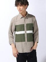 レーヨンリネンパネル7分袖シャツ
