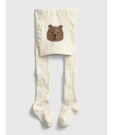 GAP (K)くまさんケーブルニットタイツ (幼児) ギャップ ファッショングッズ キッズ用品 グレー グリーン ブルー レッド パープル ホワイト ネイビー ベージュ