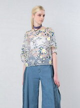 FLOWER EMBROIDERY ORGANDY BLOUSE