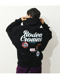RODEO CROWNS WIDE BOWL MIX PATCH HOODIE ロデオクラウンズワイドボウル カットソー パーカー ブラック グリーン ホワイト グレー【送料無料】