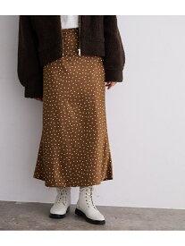 ROPE' mademoiselle ドットサテンロングスカート ロペ スカート スカートその他 ブラウン ブラック【送料無料】